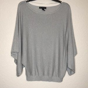 INC International Concepts blouse silver gray L